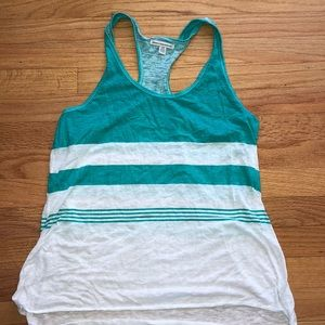 Aqua green and white striped tank top
